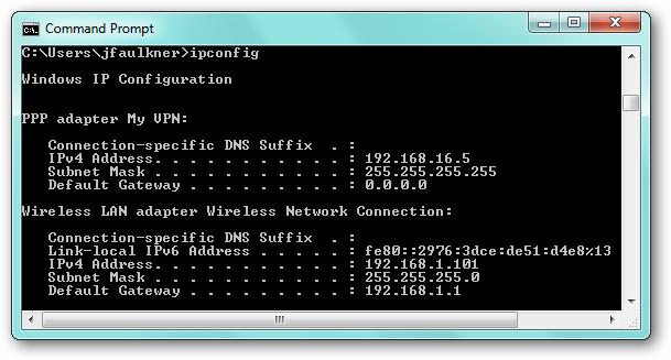 windows ipconfig after vpn